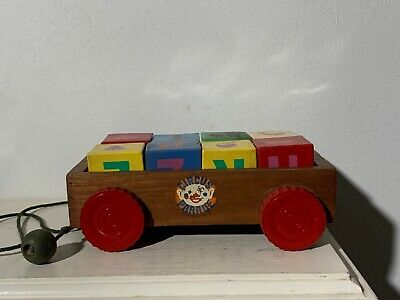Antique  Wooden Circus Parade Pull Toy Wagon Cart Red Bakelite Wheels & Blocks I