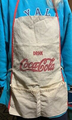 Vintage Drink Coca-Cola Apron - Red letters on egg shell white  two pockets
