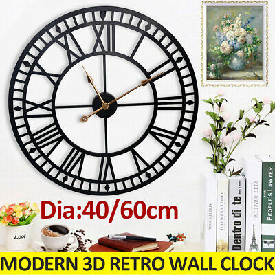 47/60cm Large Outdoor Garden Roman Wall Clock Big Numeral Giant Round Face Black
