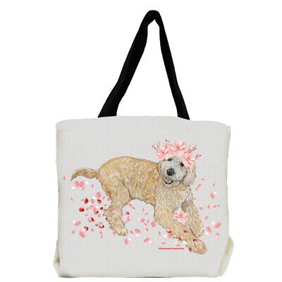 Goldendoodle Labradoodle Dog with Flowers Tote Bag