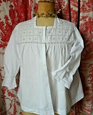 Antique French hand embroidered blouse, white work squares
