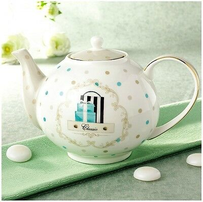 Teapot with filter for Coffee tea gilded dot pattern Fine Bone China Porcelain