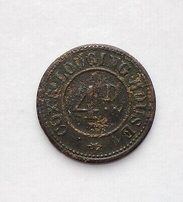 Circular Lodging House Token 4D or 4 penny 19th or 20th century
