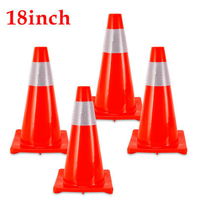"""4x 18"""" Road Traffic Cone Reflective Safety Cones Training Cones Traffic Barriers"""