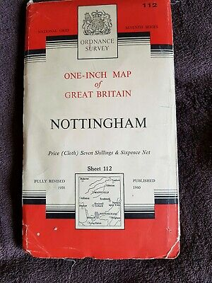 Ordnance Survey One - Inch Map Of Nottingham 1960 Map, Number 112.