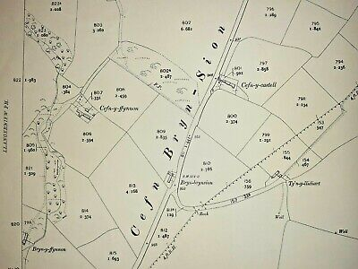 Old Antique Ordnance Map 1913 Denbighshire XII.9 Gwytherin & Pandy Tudur ...