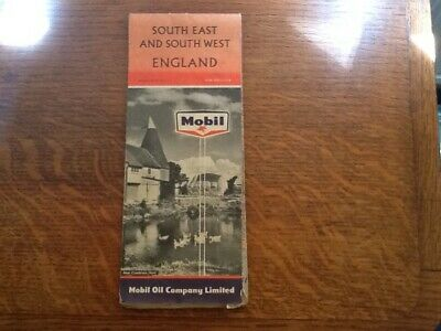 Vintage Mobil Map, 1960, South East and South West England, one shilling