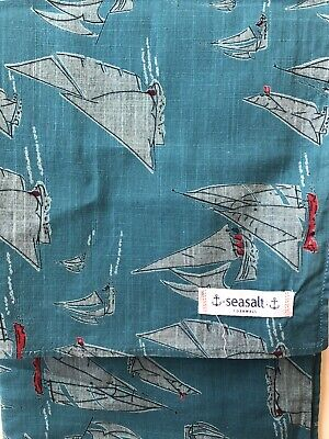 Seasalt Cotton Turquoise Teal Red Boats Nautical Scarf