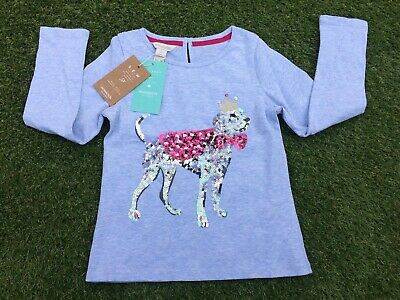 Bnwt Monsoon Girls Top T-Shirt With Gorgeous Sequin Dog Age 5 - 6 Rrp £18 Cotton