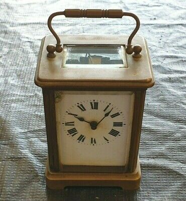 Antique Vintage French Brass Carriage Clock, France Mantle