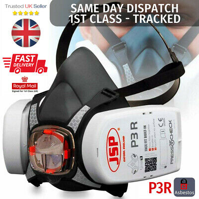 JSP Force 8 Half Mask Respirator With Press To Check P3 Filters BRAND NEW