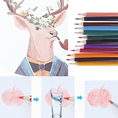 12X12colors water soluble colored pencil watercolor pencil for write drawing F4
