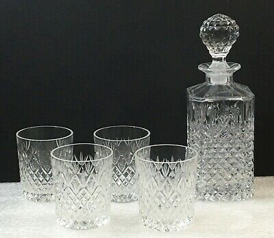 Crystal Square Whiskey Decanter and Tumblers - 6-Piece Set
