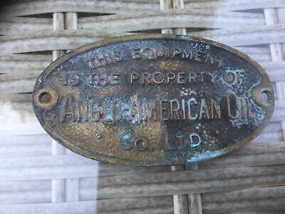 Reclaimed Salvage ANGLO AMERICAN OIL SOLID BRASS PLAQUE