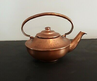 Gregorian Engraved Hammered Copper Tea Kettle Teapot Made In USA