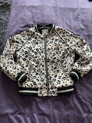 River Island Girls Leopard Print Silky Bomber Jacket Age 9-10
