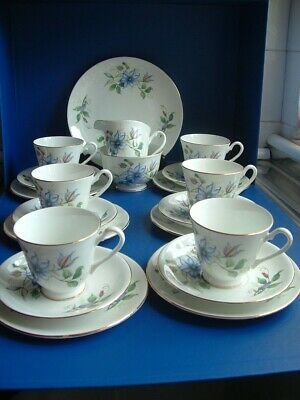 Windsor Fine Bone China 21PC Tea Set CLEMATIS