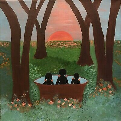 Primitive Southern Black Americana Folk Art Original Painting By Jensey
