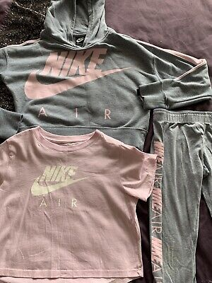 Nike Girls Pink And Grey Hoodie T Shirt Top And Leggings Age 10-12