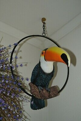 Life-Size Resin Toucan in a Metal Ring/Tropical or Bird Decor