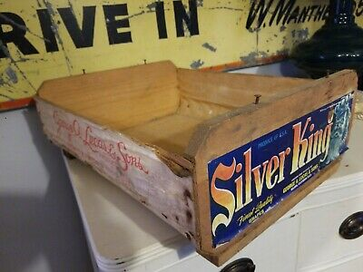 Vintage Grape Box Silver King Wood Produce Fruit Crate  George A. Lucas