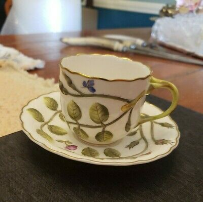 Royal Worcester The Blind Earl Raised Design Multicolor Flat Cup Saucer Set