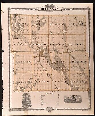 Iowa 1875, Buchanan Co reverse Cty Independence, Delhi, Winthrop, Quasqueton +