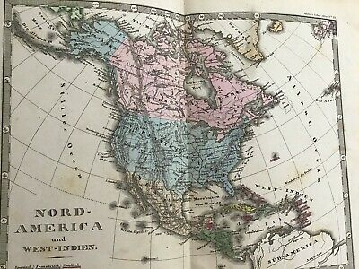 Antique Colored ATLAS OF THE WORLD   1873  GERMAN text