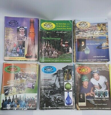 Lot of 54 Issues of Antique Bottle & Glass Collector Magazines 1999-2010