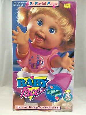 """BABY FACE doll So Playful Penny 13"""" 1990 still in the box Galoob Nice condition"""