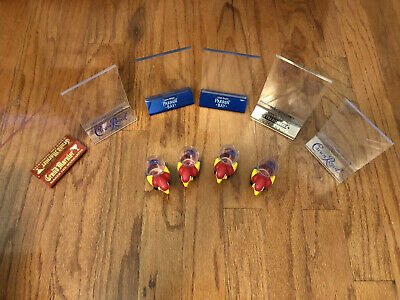 6 Acrylic Bar Table Top Menu Sign Ad Holder with 4 Parrot Bay Shot Glasses