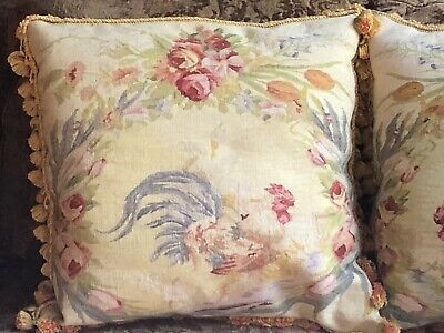Vintage PAIR TAPESTRY Rug Aubusson ROOSTERS Down PILLOWS Shams VELVET Back