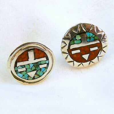 Vintage Sun & Moon face earrings sterling silver w inlaid turquoise and coral T