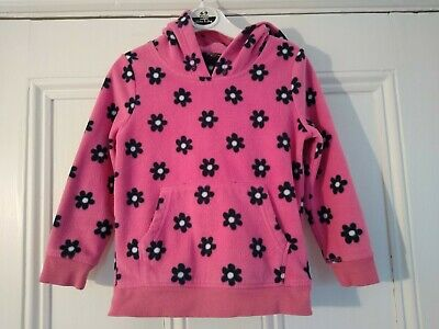 3-4 yrs: Pretty pink floral fleece hoodie: Good used condition: Combine postage
