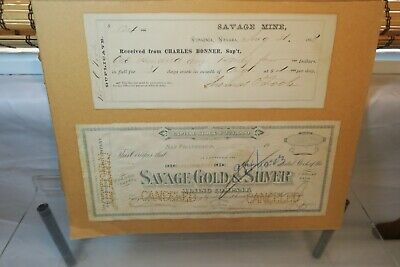 Savage Gold Mining Company - Nevada Checks, Payroll & Stock Certificate - 1800's