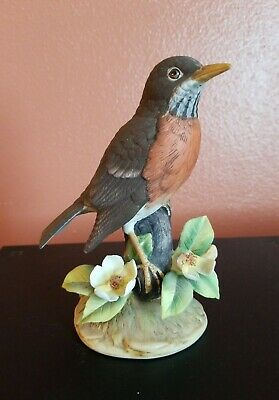 "Robin By Stefani Porcelain Figurine Statue Bird decorated with flowers 6"" Tall"
