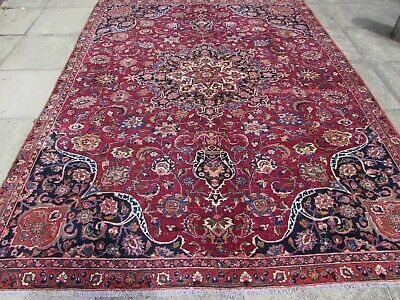 Shabby Chic Worn Vintage Hand Made Traditional Red Wool Large Carpet 299x229cm
