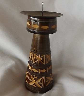 """Carved Wood Stars Spindle Candle Holder Brass Plate Candle Base 4"""""""
