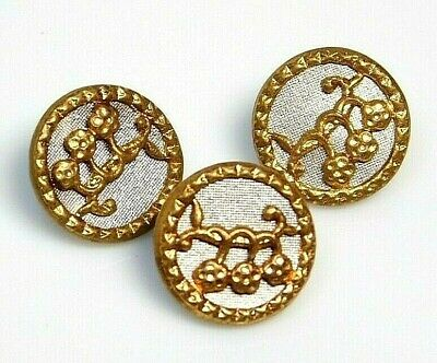 Antique Vtg Button LOT of 3 AUSTRIAN Tinys in Brass w/a Silver Back NICE! #R1