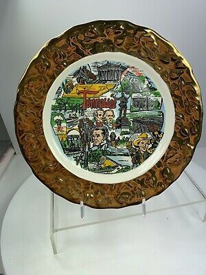 Tennessee Souvenir Plate Crown 'O Gold 22K Trim Made in USA Vintage 1960s