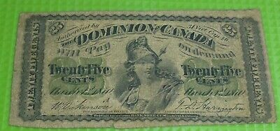 """Large """"A"""" 1870 25 Cents Dominion Of Canada  (Vg Condition)"""