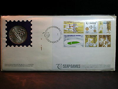 S-99:Scarce Singapore Silver 5 $,1973, 7th SEAP games, First Day Cover, No 07312