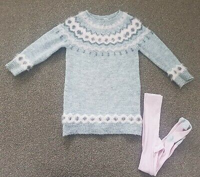 Primark Girls Fairisle Grey Pink Jumper Dress Tunic With Tights Age 3-4 Years