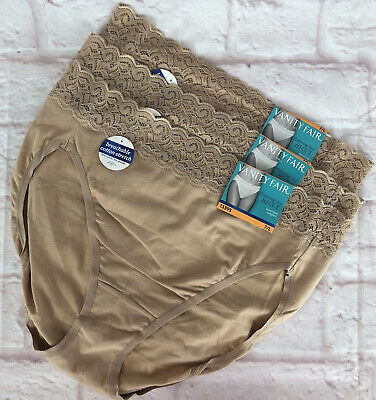 Vanity Fair Womens Panties 7 Large Beige NEW!! Tags Hi Cut Cotton Lace Lot of 3