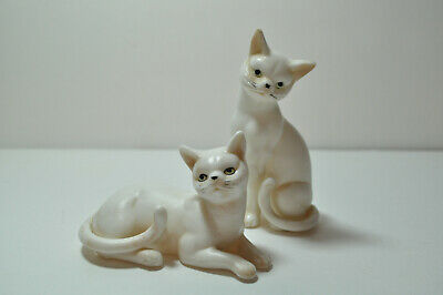 "Lot of 2 Vintage Genuine Porcelain White Cat Figurines Made in Japan ""Our Own"""