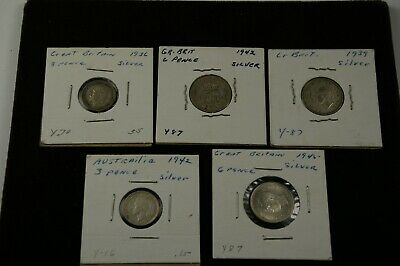 British 1936-1945 Currency Lot of Five - Three Pence and Six Pence