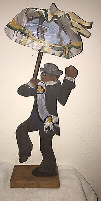 Rare Vintage Lorraine Gendron Louisiana Wood Folk Art Second Line Man