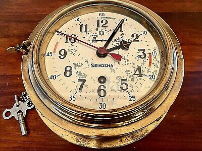 NAUTICAL VINTAGE BRASS SEIKOSHA SHIPS MARINE CLOCK w/ KEY - DR