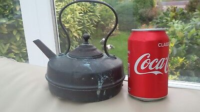 Antique Copper Squat Kettle Uncleand Condition Base with Spilts Lots of Patina