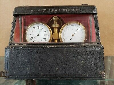 Antique Barometer Clock & Thermometer With original case By Thomson & Profaze